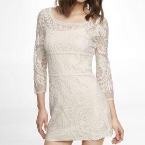 EXPRESS Ivory Cream sheer Lace Dress Size Medium